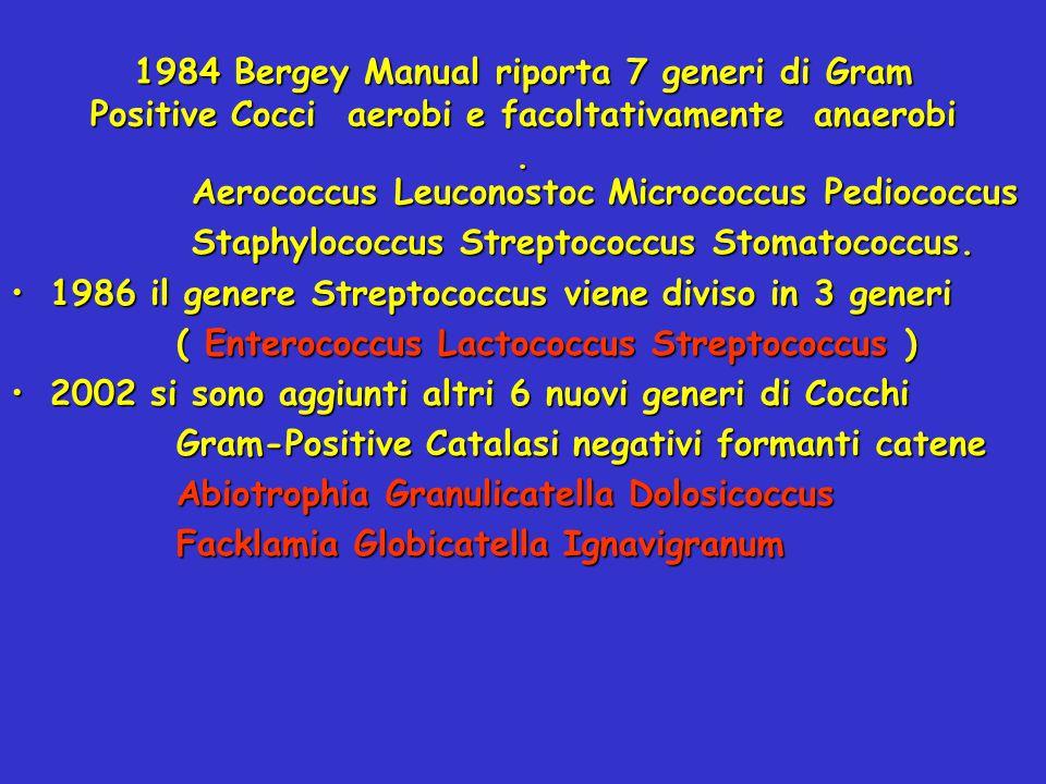 1984 Bergey Manual riporta 7 generi di Gram Positive Cocci aerobi e facoltativamente anaerobi .