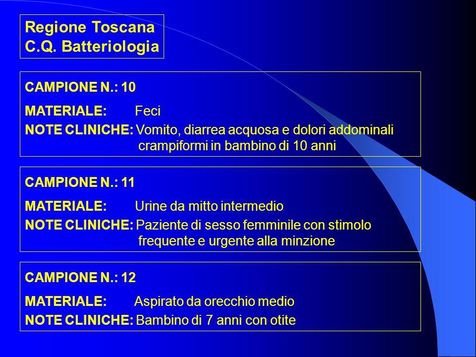 Regione Toscana C.Q. Batteriologia CAMPIONE N.: 10 MATERIALE: Feci