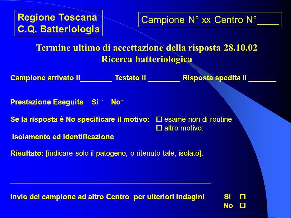 Campione N° xx Centro N°____