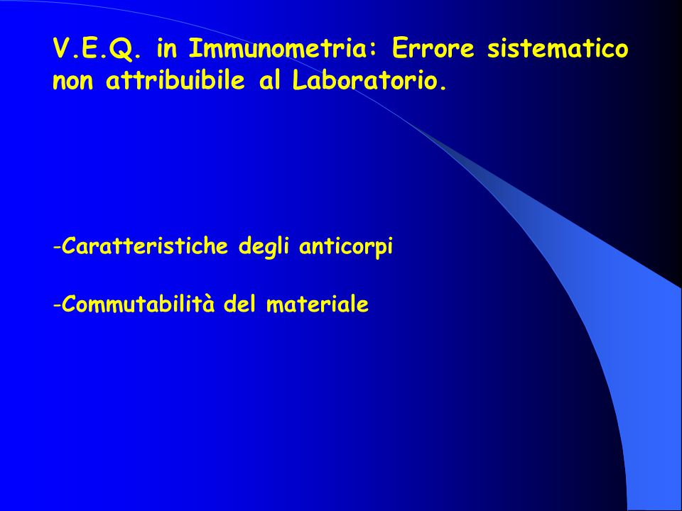V.E.Q. in Immunometria: Errore sistematico non attribuibile al Laboratorio.