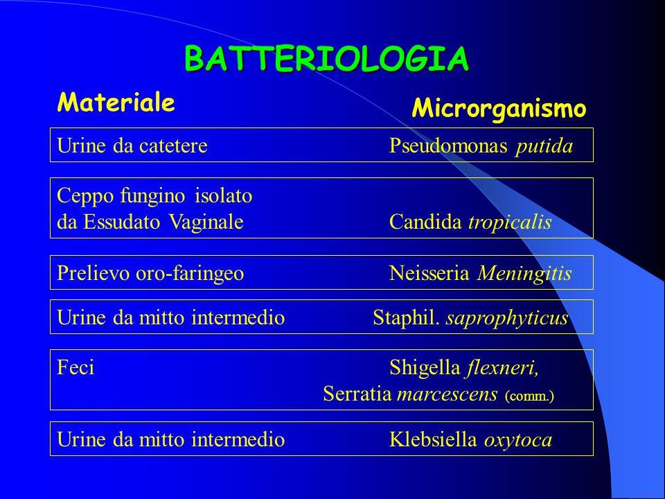 BATTERIOLOGIA Materiale Microrganismo
