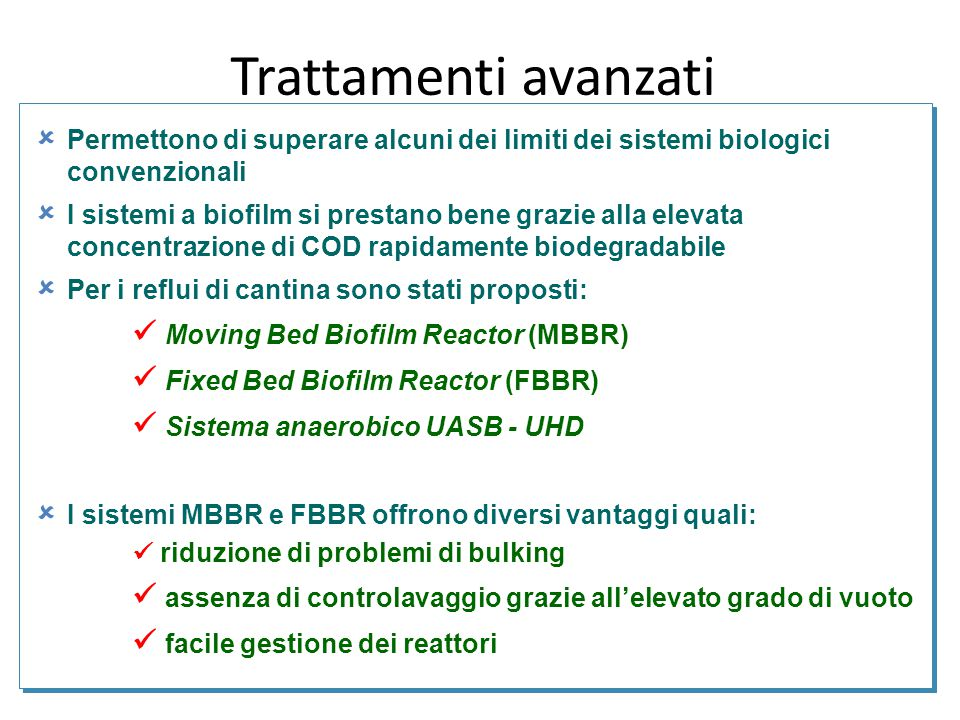 Trattamenti avanzati  Moving Bed Biofilm Reactor (MBBR)