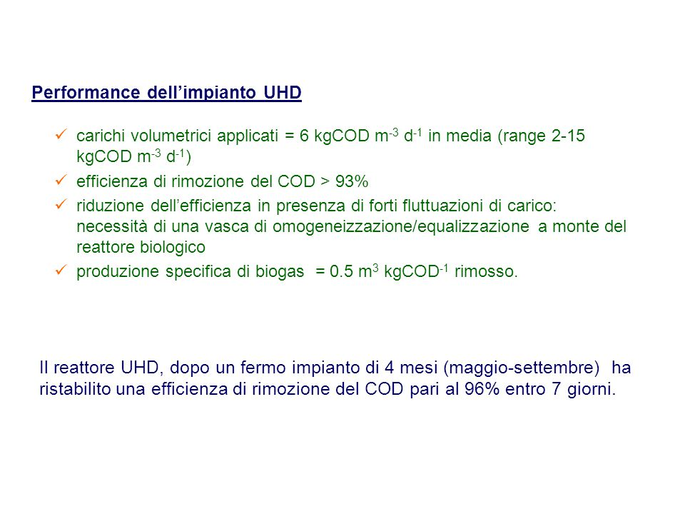 Performance dell'impianto UHD