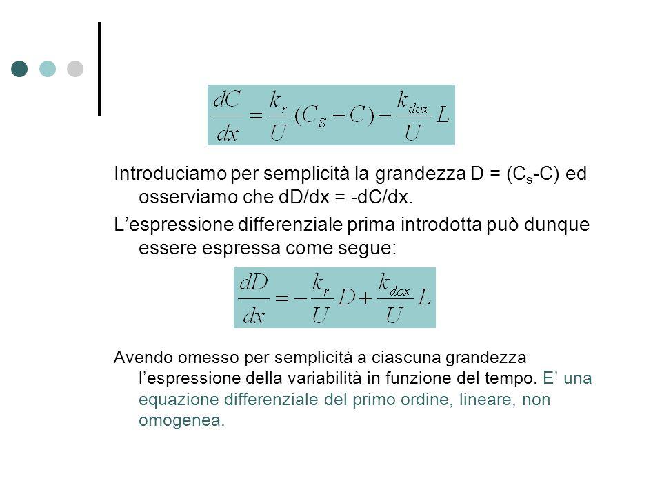 Introduciamo per semplicità la grandezza D = (Cs-C) ed osserviamo che dD/dx = -dC/dx.