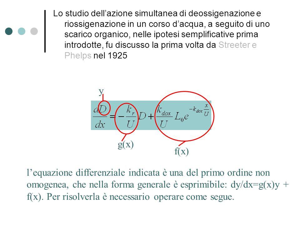 Lo studio dell'azione simultanea di deossigenazione e riossigenazione in un corso d'acqua, a seguito di uno scarico organico, nelle ipotesi semplificative prima introdotte, fu discusso la prima volta da Streeter e Phelps nel 1925