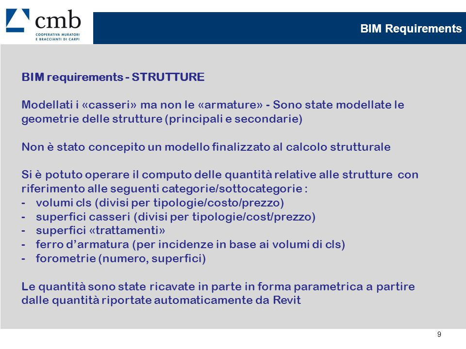BIM Requirements BIM requirements - STRUTTURE.