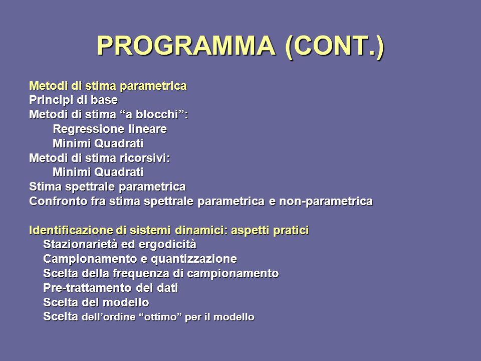 PROGRAMMA (CONT.) Metodi di stima parametrica Principi di base