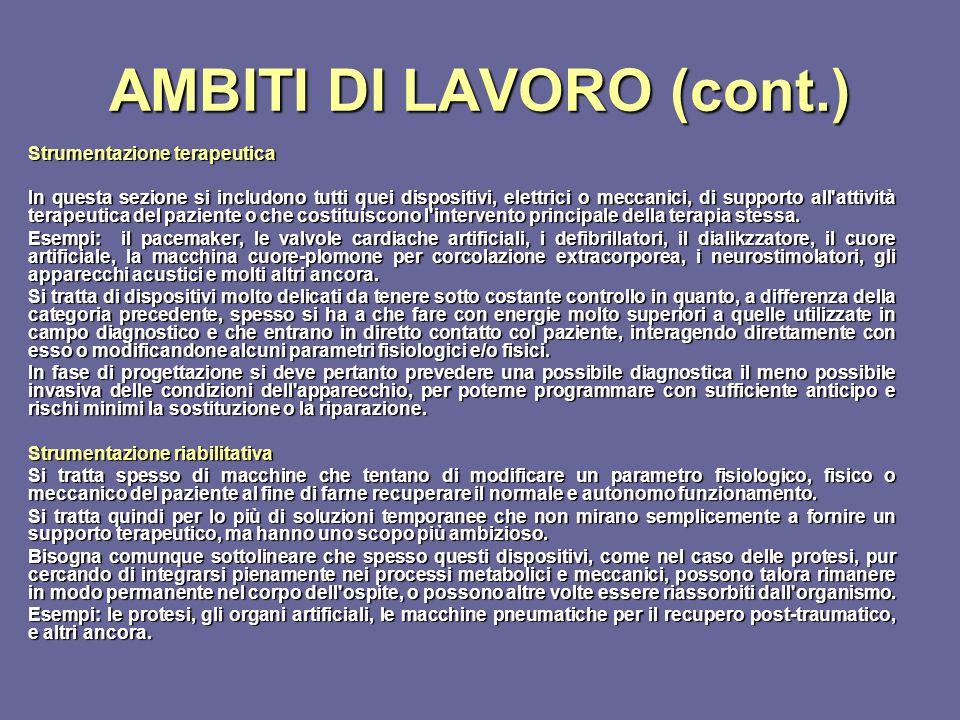 AMBITI DI LAVORO (cont.)