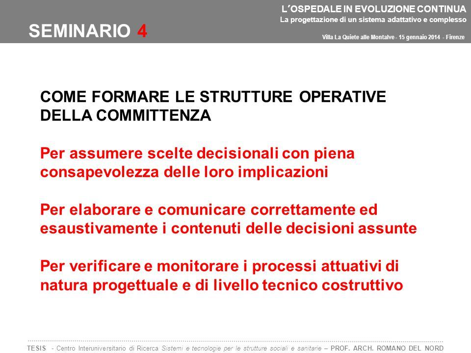 SEMINARIO 4 COME FORMARE LE STRUTTURE OPERATIVE DELLA COMMITTENZA