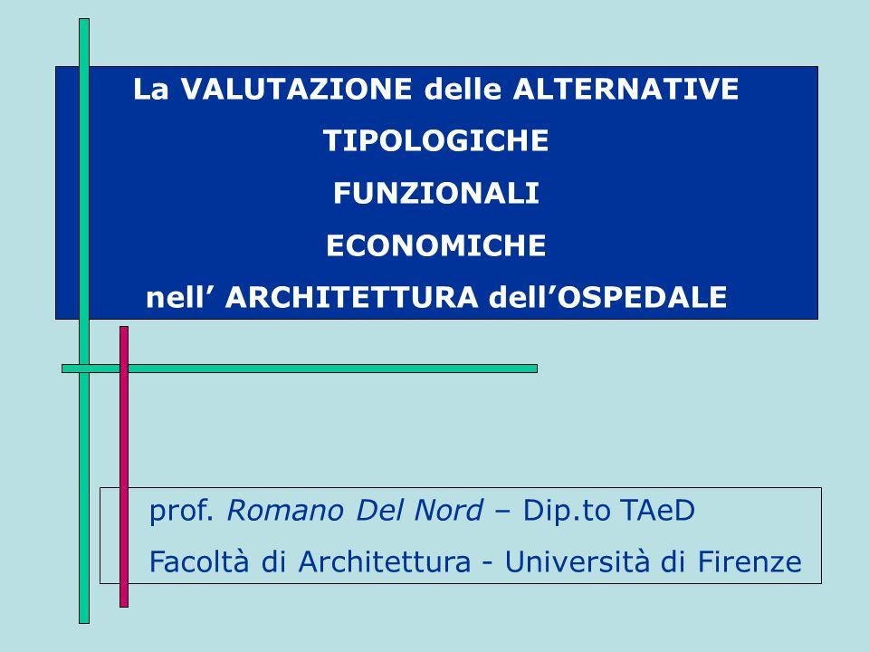 La VALUTAZIONE delle ALTERNATIVE nell' ARCHITETTURA dell'OSPEDALE