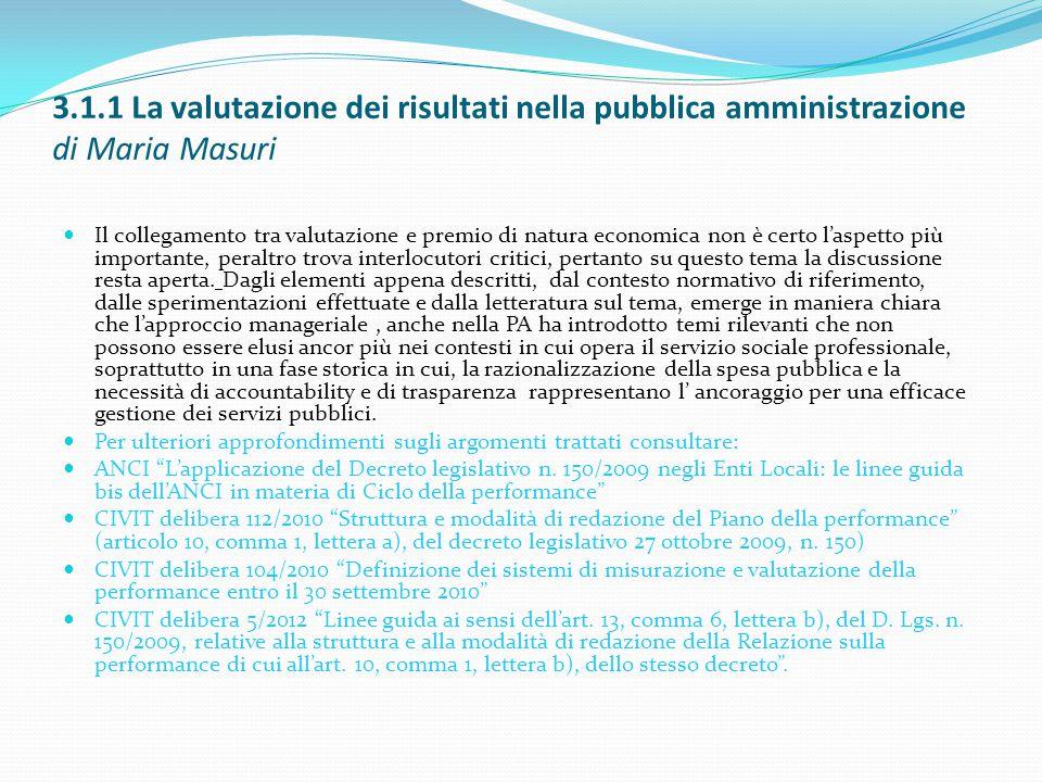 3.1.1 La valutazione dei risultati nella pubblica amministrazione di Maria Masuri