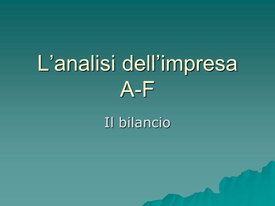 L'analisi dell'impresa A-F