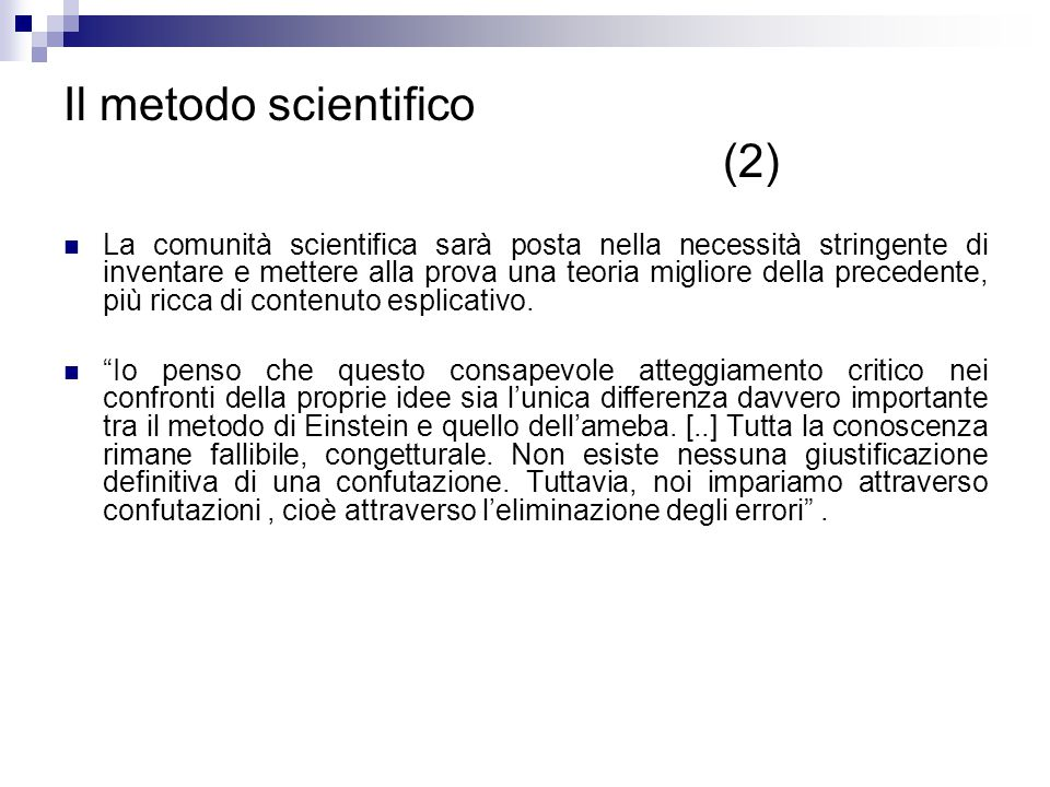 Il metodo scientifico (2)