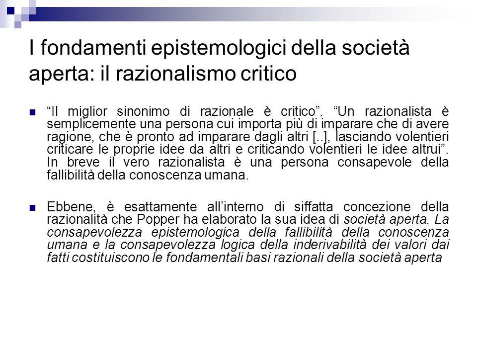 I fondamenti epistemologici della società aperta: il razionalismo critico