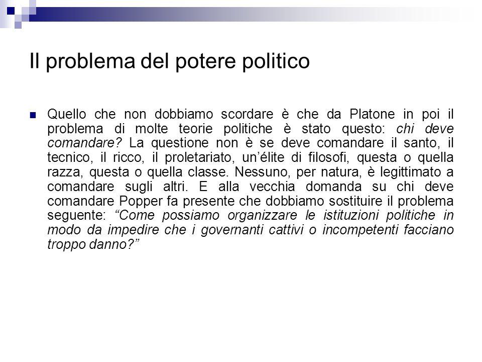 Il problema del potere politico