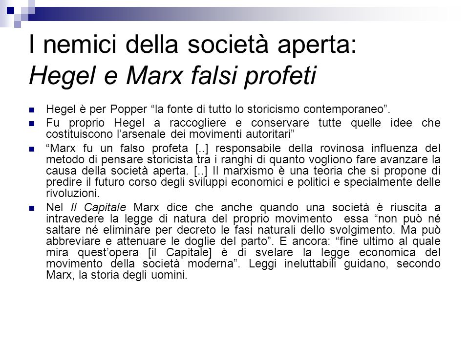 I nemici della società aperta: Hegel e Marx falsi profeti
