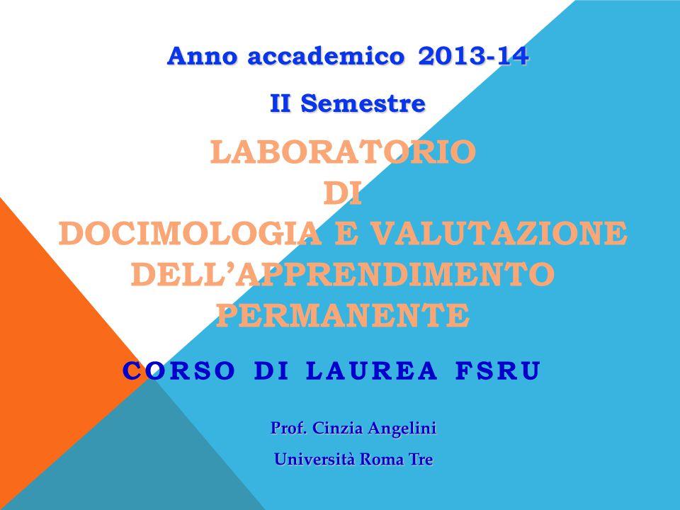 Laboratorio di Docimologia e Valutazione dell'apprendimento permanente