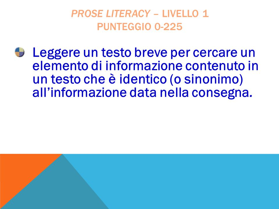Prose literacy – livello 1 punteggio 0-225