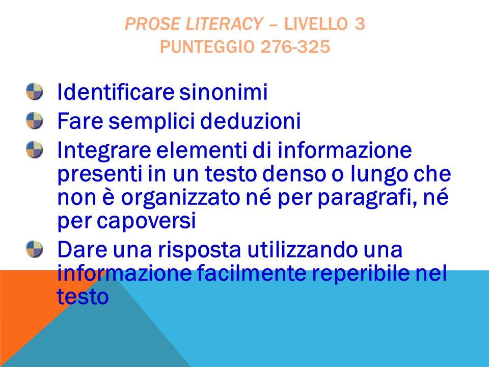 Prose literacy – livello 3 punteggio 276-325