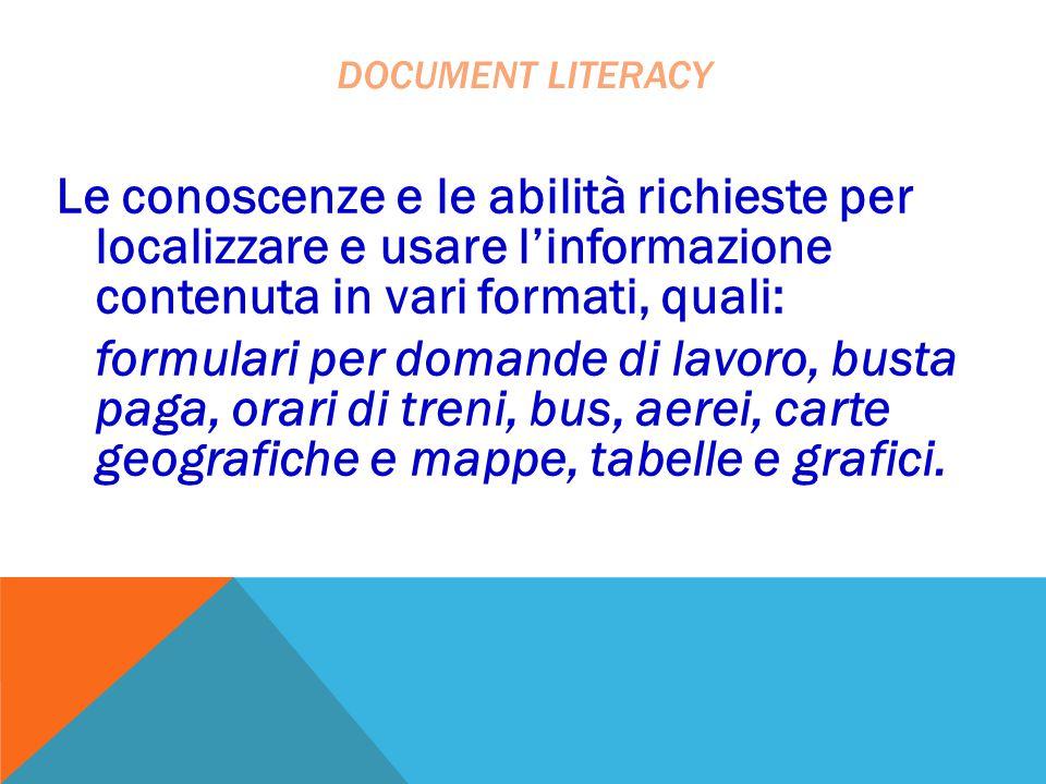 document literacy Le conoscenze e le abilità richieste per localizzare e usare l'informazione contenuta in vari formati, quali: