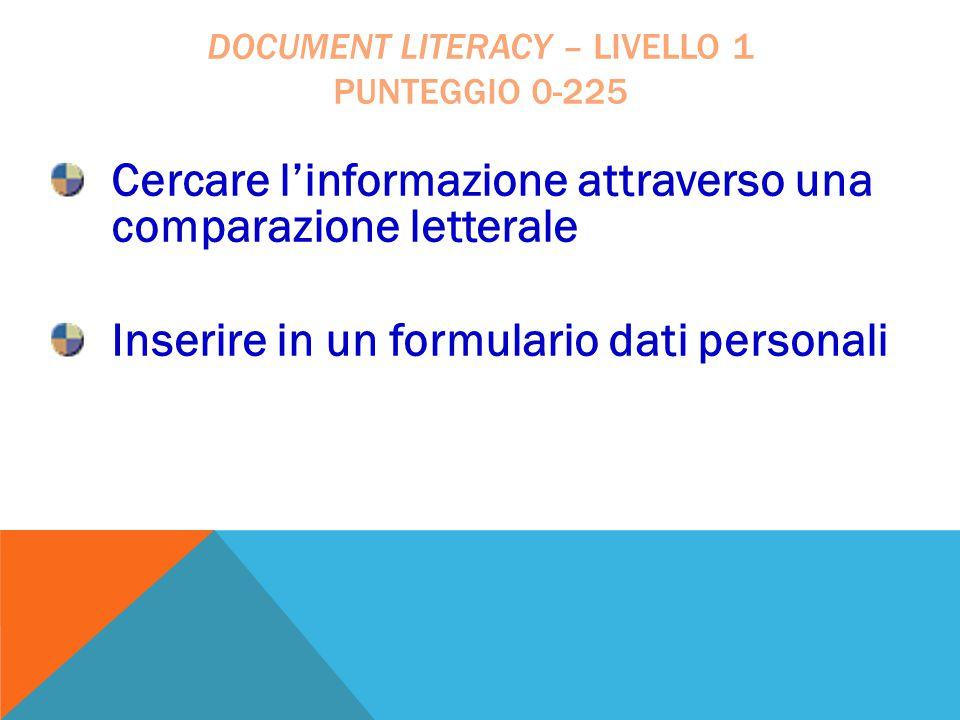 document literacy – livello 1 punteggio 0-225