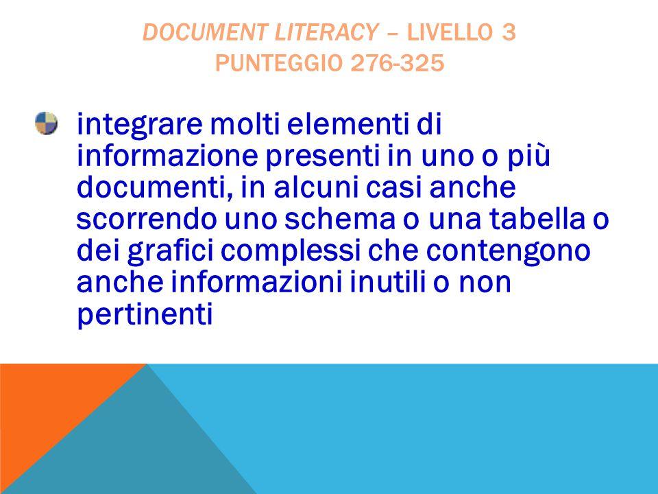 document literacy – livello 3 punteggio 276-325