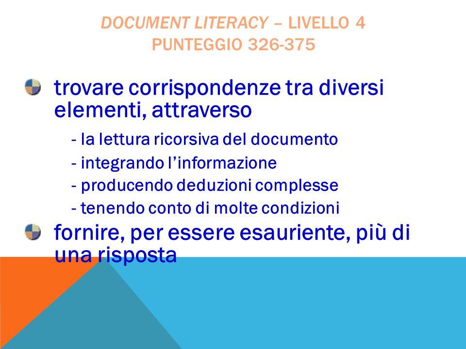 document literacy – livello 4 punteggio 326-375