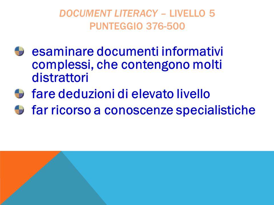 document literacy – livello 5 punteggio 376-500