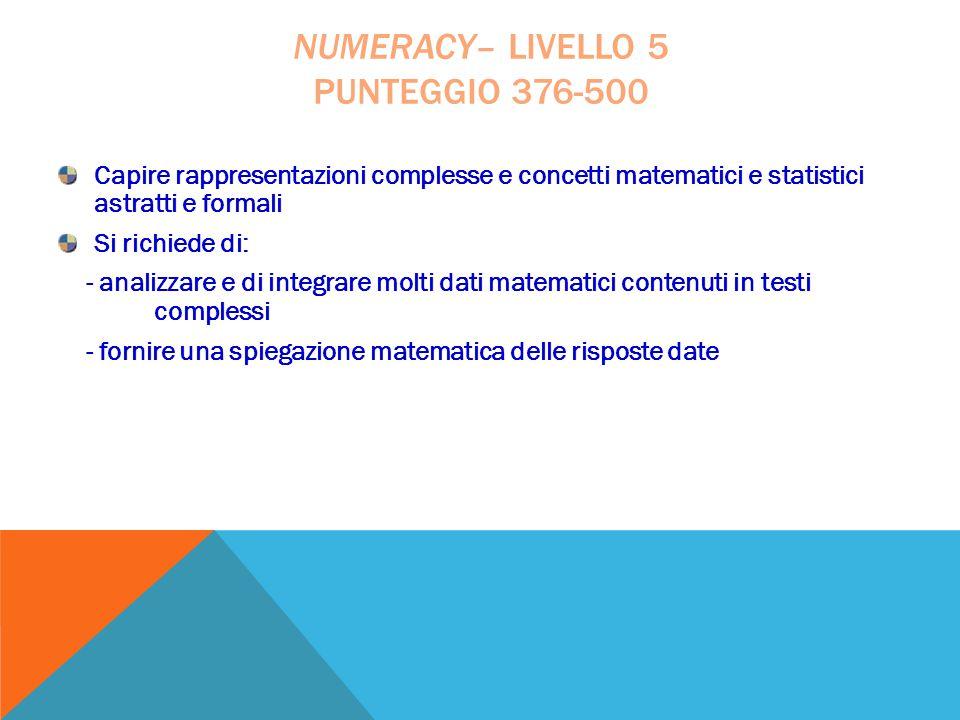 numeracy– livello 5 punteggio 376-500