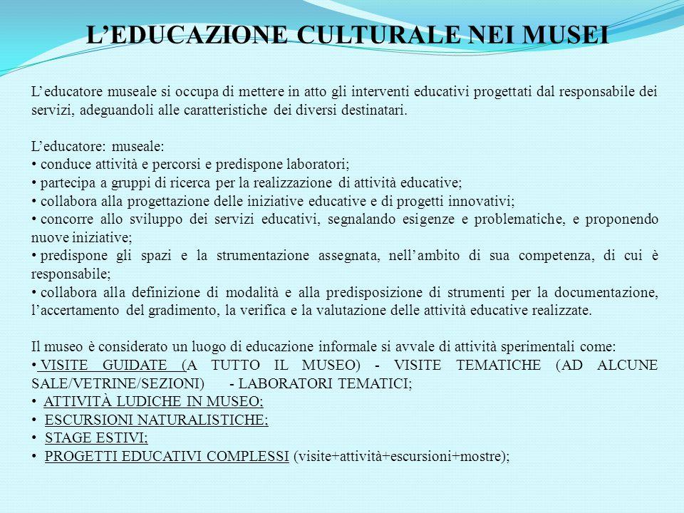 L'EDUCAZIONE CULTURALE NEI MUSEI
