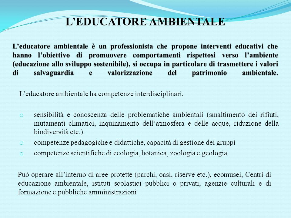L'EDUCATORE AMBIENTALE