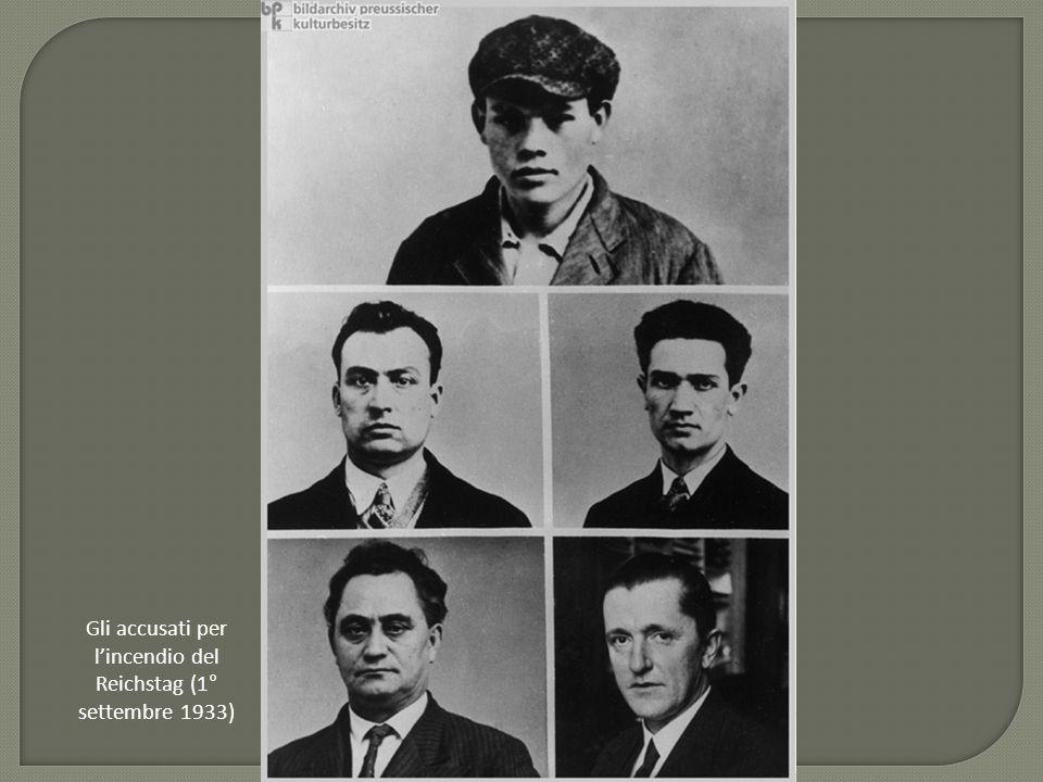 Gli accusati per l'incendio del Reichstag (1° settembre 1933)