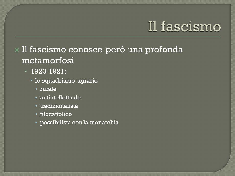 Il fascismo Il fascismo conosce però una profonda metamorfosi