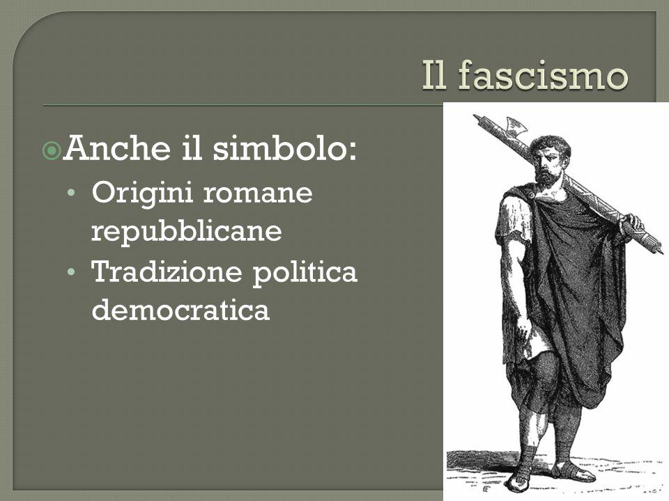 Il fascismo Anche il simbolo: Origini romane repubblicane