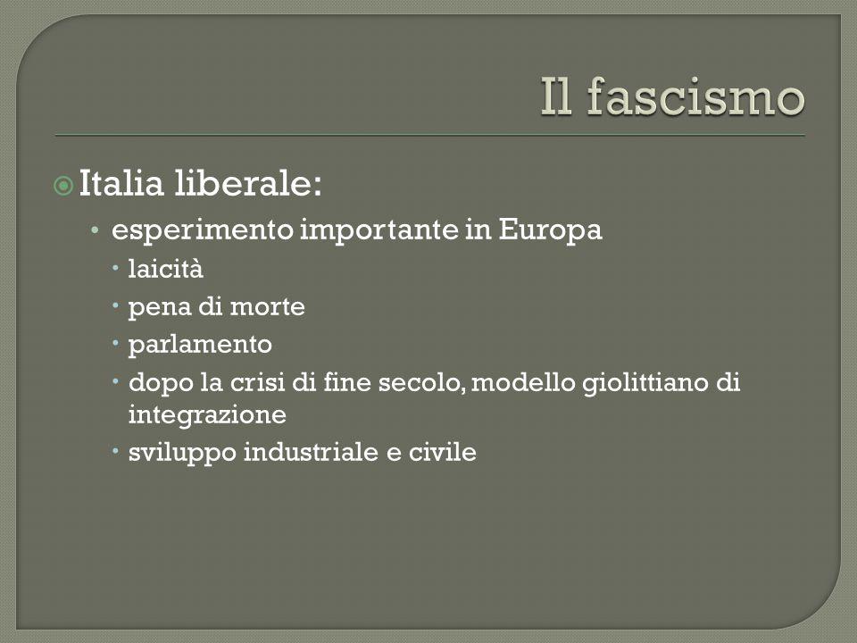 Il fascismo Italia liberale: esperimento importante in Europa laicità