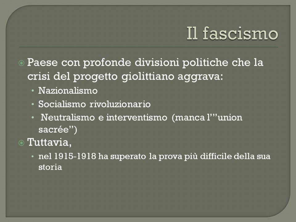 Il fascismo Paese con profonde divisioni politiche che la crisi del progetto giolittiano aggrava: Nazionalismo.