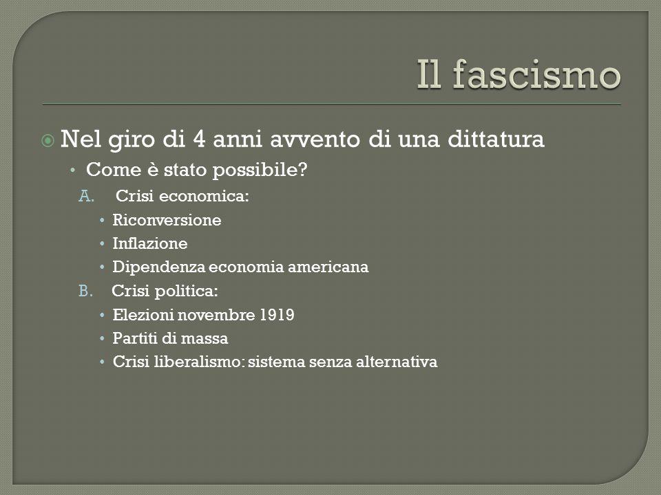 Il fascismo Nel giro di 4 anni avvento di una dittatura