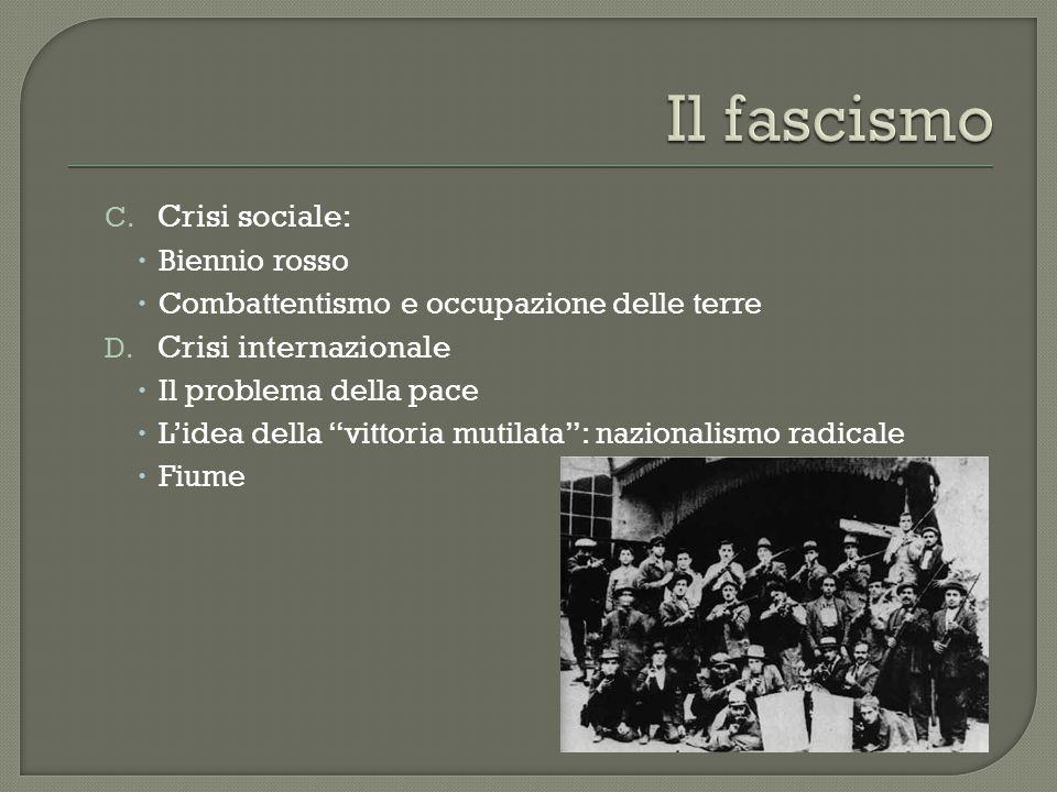 Il fascismo Crisi sociale: Crisi internazionale Biennio rosso