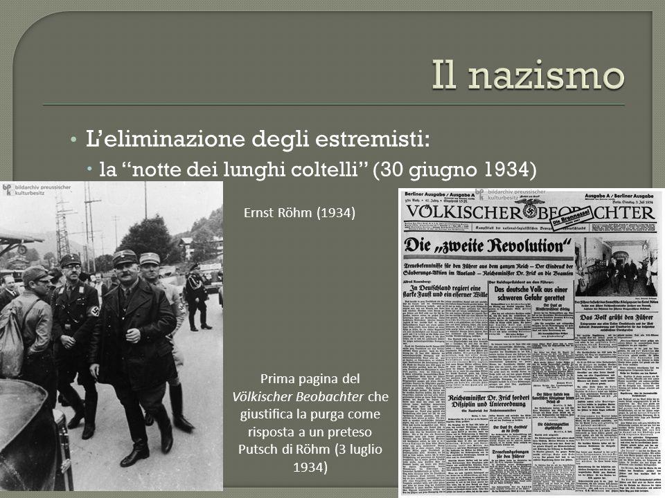 Il nazismo L'eliminazione degli estremisti:
