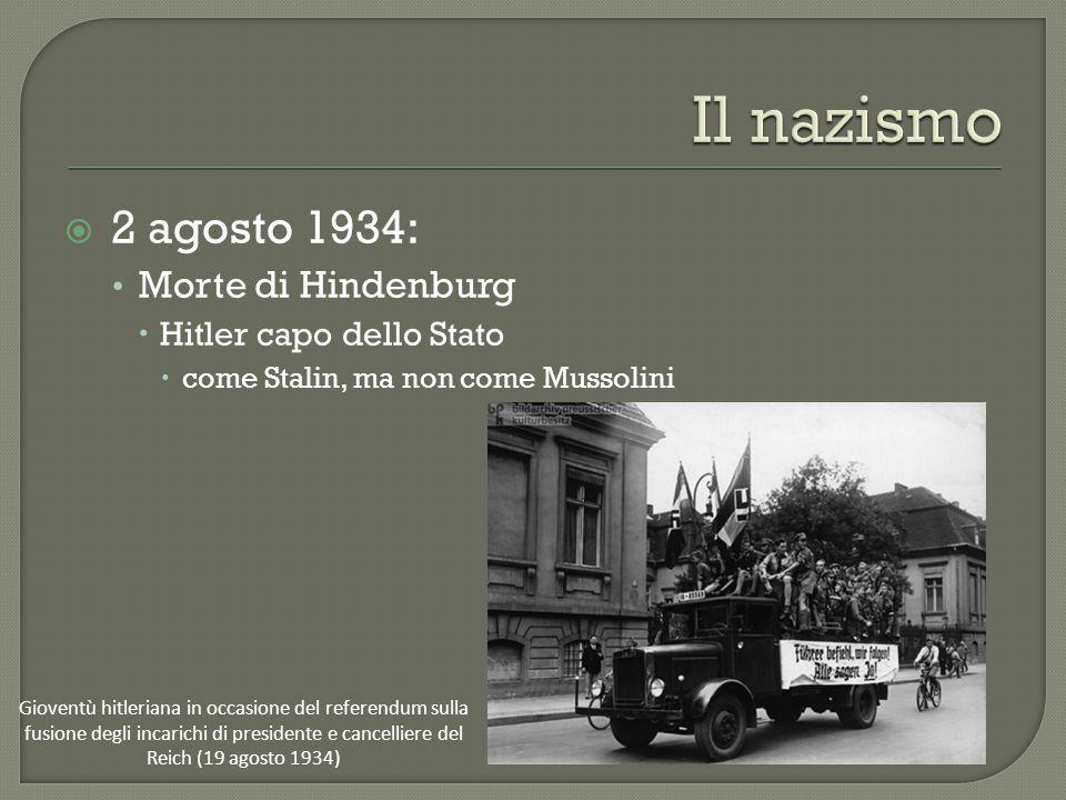 Il nazismo 2 agosto 1934: Morte di Hindenburg Hitler capo dello Stato