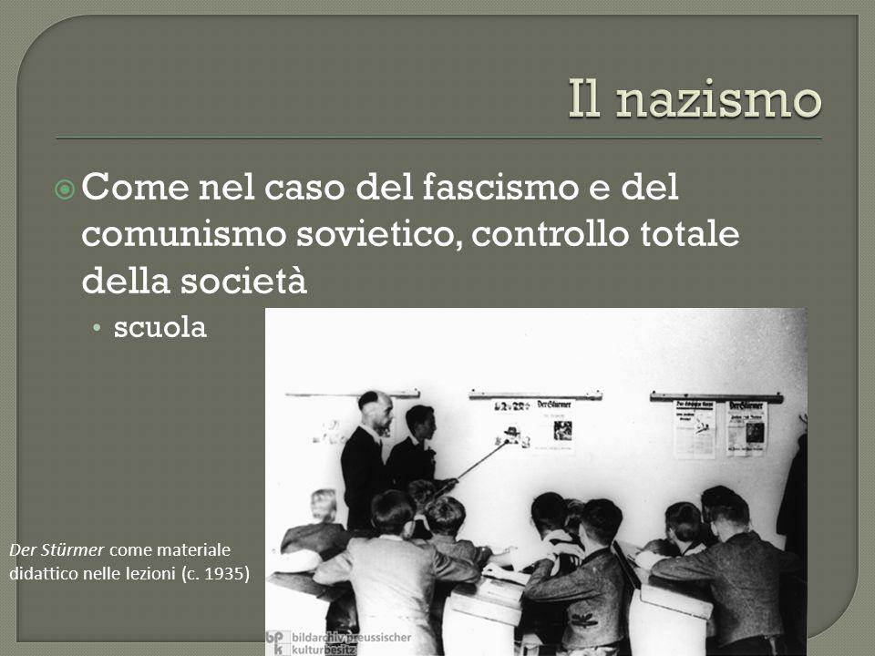 Il nazismo Come nel caso del fascismo e del comunismo sovietico, controllo totale della società. scuola.