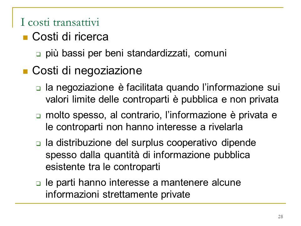 I costi transattivi Costi di ricerca Costi di negoziazione