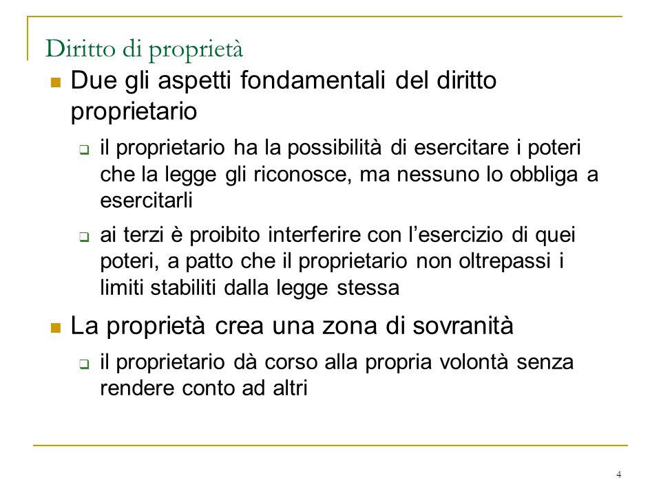 Diritto di proprietà Due gli aspetti fondamentali del diritto proprietario.