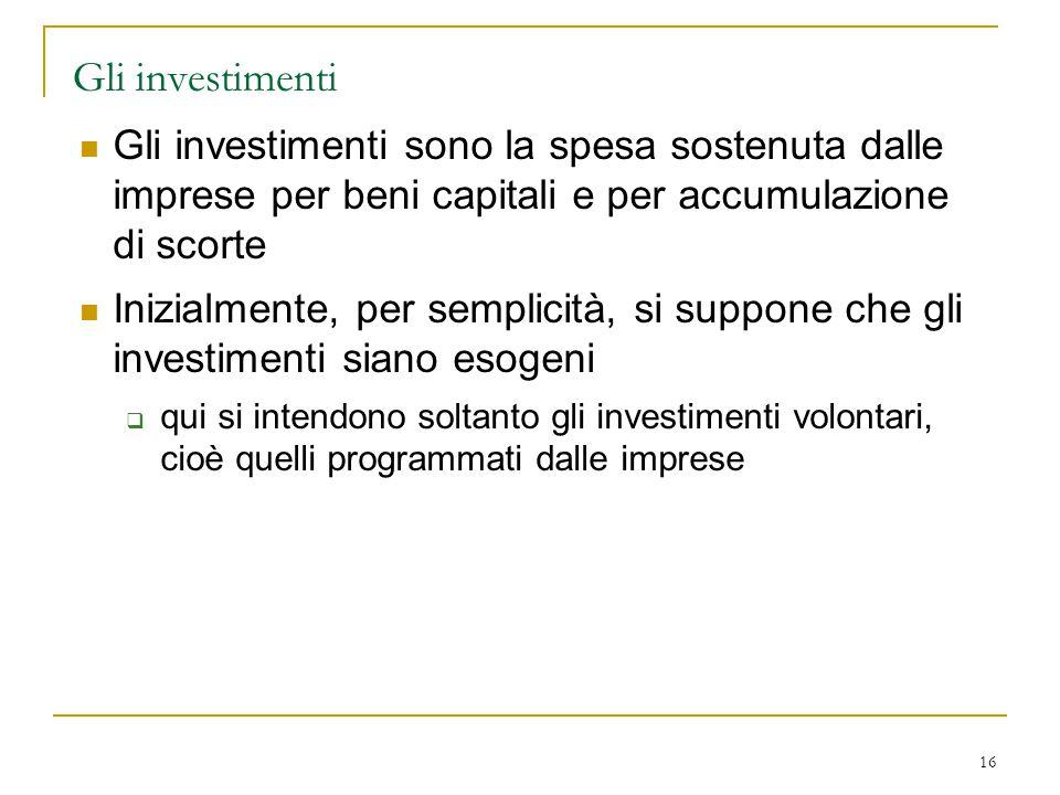 Gli investimenti Gli investimenti sono la spesa sostenuta dalle imprese per beni capitali e per accumulazione di scorte.