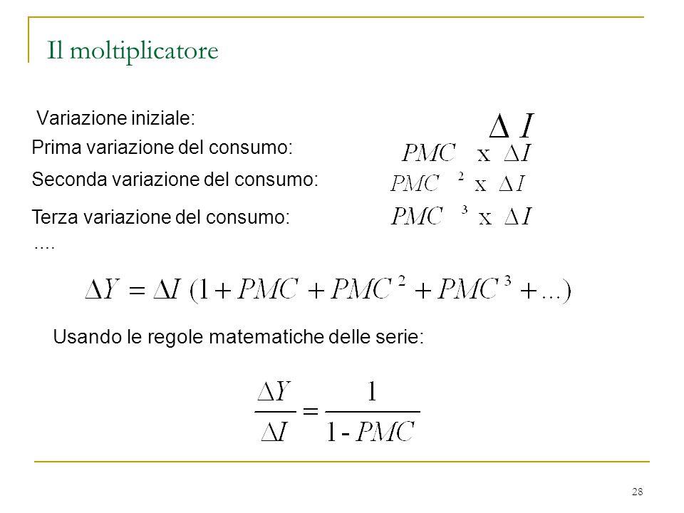 Il moltiplicatore Usando le regole matematiche delle serie:
