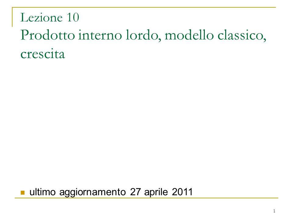 Lezione 10 Prodotto interno lordo, modello classico, crescita