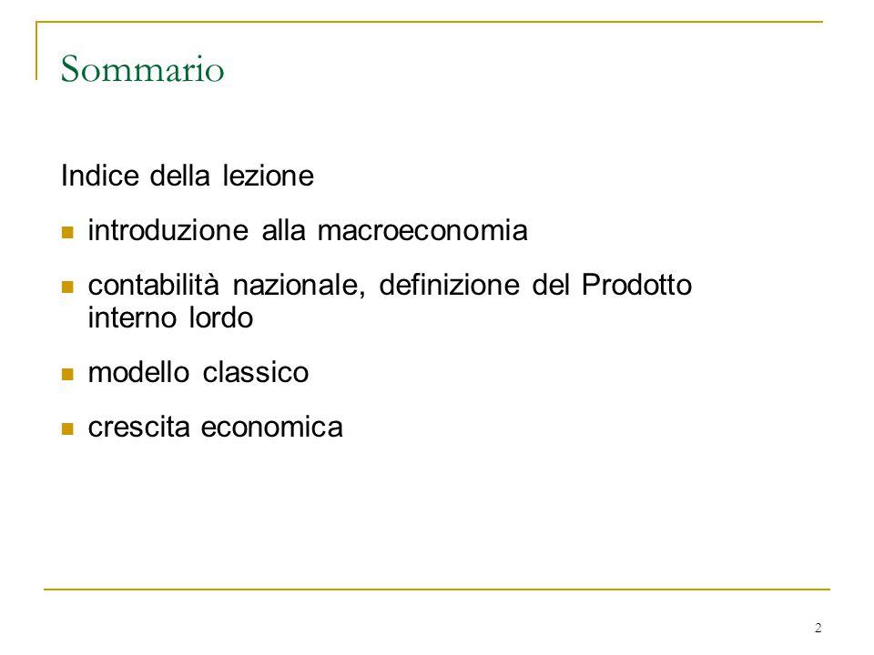 Sommario Indice della lezione introduzione alla macroeconomia