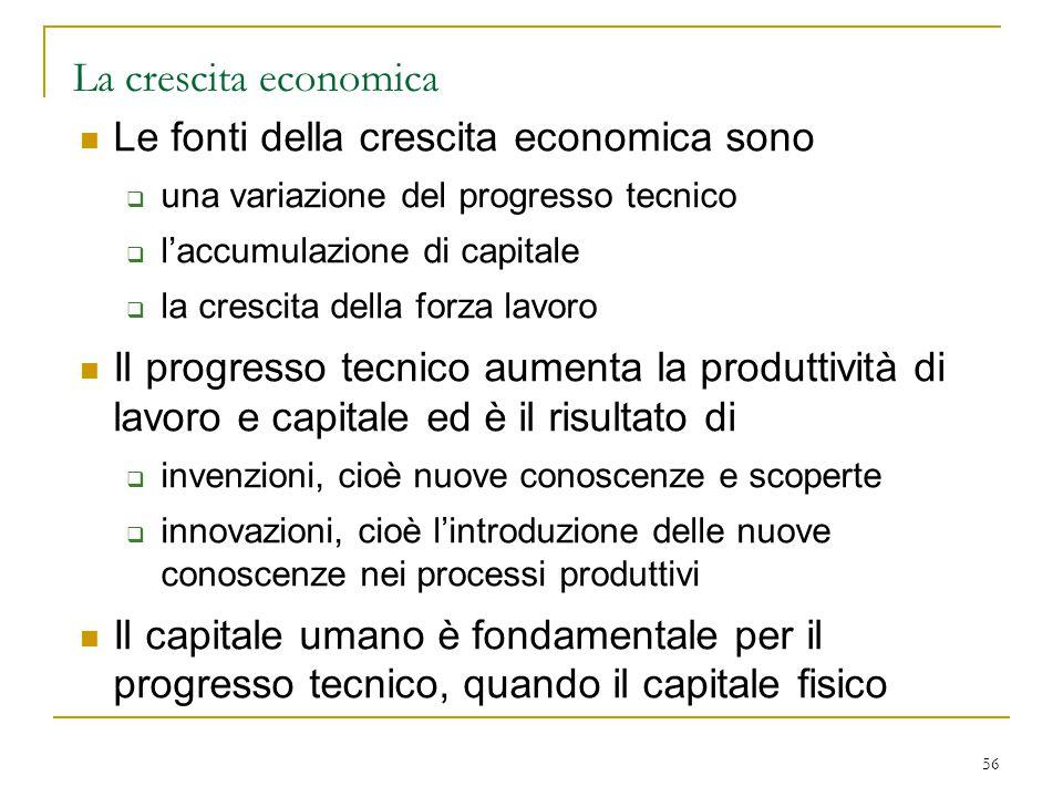 La crescita economica Le fonti della crescita economica sono