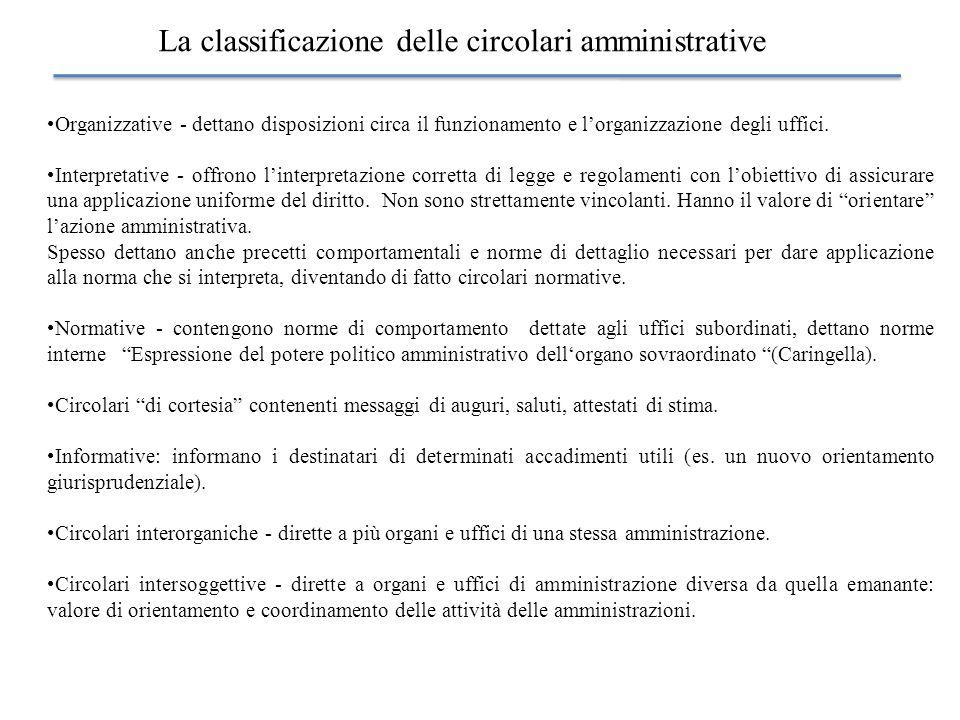 La classificazione delle circolari amministrative