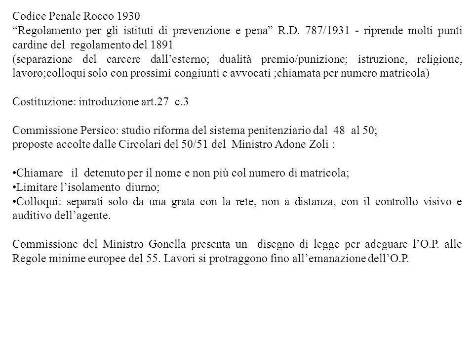 Codice Penale Rocco 1930 Regolamento per gli istituti di prevenzione e pena R.D. 787/1931 - riprende molti punti cardine del regolamento del 1891.